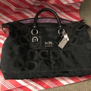 COACH Sabrina Black OP Large Satchel with Wallet